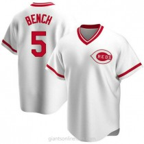 Mens Johnny Bench Cincinnati Reds #5 Replica White Home Cooperstown Collection A592 Jersey