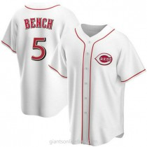 Mens Johnny Bench Cincinnati Reds Replica White Home A592 Jersey