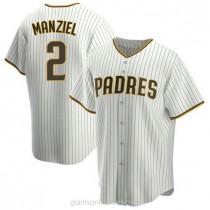 Mens Johnny Manziel San Diego Padres #2 Replica White Brown Home A592 Jersey
