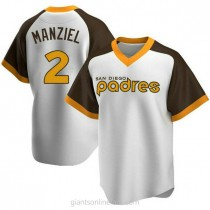 Mens Johnny Manziel San Diego Padres #2 Replica White Home Cooperstown Collection A592 Jersey