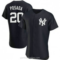 Mens Jorge Posada New York Yankees #20 Authentic Navy Alternate A592 Jerseys