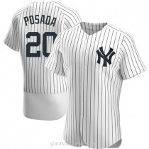 Mens Jorge Posada New York Yankees #20 Authentic White Home A592 Jersey