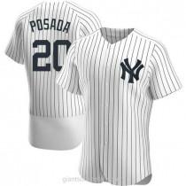 Mens Jorge Posada New York Yankees #20 Authentic White Home A592 Jerseys