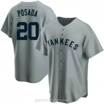 Mens Jorge Posada New York Yankees #20 Replica Gray Road Cooperstown Collection A592 Jersey