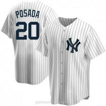 Mens Jorge Posada New York Yankees #20 Replica White Home A592 Jerseys