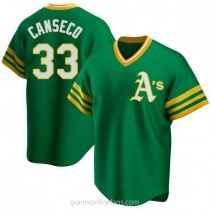 Mens Jose Canseco Oakland Athletics #33 Replica Green R Kelly Road Cooperstown Collection A592 Jersey