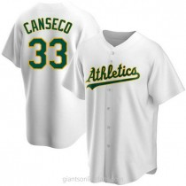 Mens Jose Canseco Oakland Athletics #33 Replica White Home A592 Jerseys