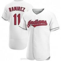 Mens Jose Ramirez Cleveland Indians #11 Authentic White Home A592 Jersey