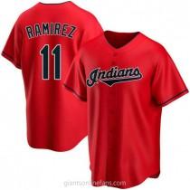 Mens Jose Ramirez Cleveland Indians #11 Replica Red Alternate A592 Jerseys