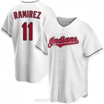 Mens Jose Ramirez Cleveland Indians #11 Replica White Home A592 Jersey