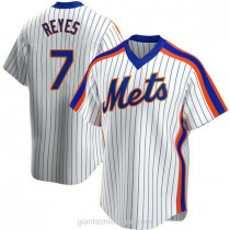 Mens Jose Reyes New York Mets #7 Replica White Home Cooperstown Collection A592 Jerseys