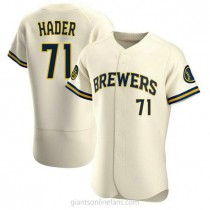 Mens Josh Hader Milwaukee Brewers #71 Authentic Cream Home A592 Jersey