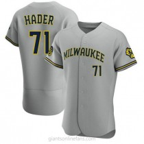 Mens Josh Hader Milwaukee Brewers #71 Authentic Gray Road A592 Jersey