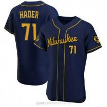 Mens Josh Hader Milwaukee Brewers #71 Authentic Navy Alternate A592 Jersey