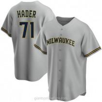 Mens Josh Hader Milwaukee Brewers Replica Gray Road A592 Jersey
