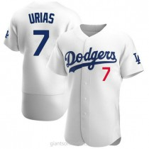 Mens Julio Urias Los Angeles Dodgers #7 Authentic White Home Official A592 Jerseys