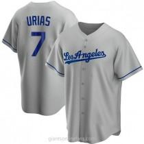 Mens Julio Urias Los Angeles Dodgers Replica Gray Road A592 Jersey