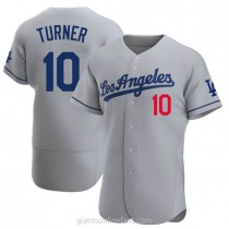 Mens Justin Turner Los Angeles Dodgers #10 Authentic Gray Away Official A592 Jerseys