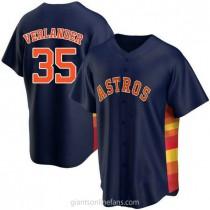 Mens Justin Verlander Houston Astros #35 Replica Navy Alternate A592 Jerseys