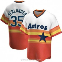Mens Justin Verlander Houston Astros #35 Replica White Home Cooperstown Collection A592 Jersey