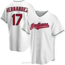 Mens Keith Hernandez Cleveland Indians #17 Replica White Home A592 Jerseys