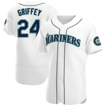 Mens Ken Griffey Seattle Mariners #24 Authentic White Home A592 Jersey