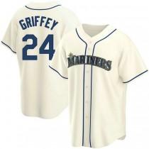 Mens Ken Griffey Seattle Mariners #24 Replica Cream Alternate A592 Jerseys