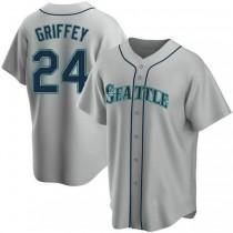 Mens Ken Griffey Seattle Mariners #24 Replica Gray Road A592 Jersey