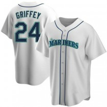 Mens Ken Griffey Seattle Mariners #24 Replica White Home A592 Jersey