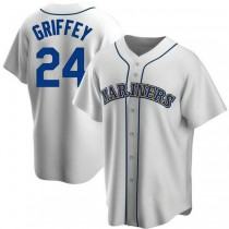 Mens Ken Griffey Seattle Mariners #24 Replica White Home Cooperstown Collection A592 Jerseys