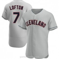 Mens Kenny Lofton Cleveland Indians #7 Authentic Gray Road A592 Jersey