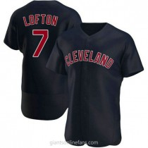 Mens Kenny Lofton Cleveland Indians #7 Authentic Navy Alternate A592 Jersey