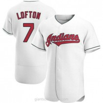 Mens Kenny Lofton Cleveland Indians #7 Authentic White Home A592 Jerseys