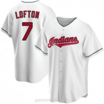 Mens Kenny Lofton Cleveland Indians #7 Replica White Home A592 Jerseys