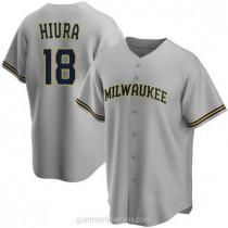 Mens Keston Hiura Milwaukee Brewers #18 Replica Gray Road A592 Jersey