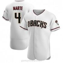 Mens Ketel Marte Arizona Diamondbacks #4 Authentic White Crimson Home A592 Jersey