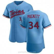 Mens Kirby Puckett Minnesota Twins #34 Authentic Light Blue Alternate A592 Jersey