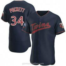 Mens Kirby Puckett Minnesota Twins #34 Authentic Navy Alternate 60th Season Team A592 Jersey