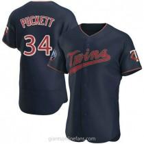 Mens Kirby Puckett Minnesota Twins #34 Authentic Navy Alternate 60th Season Team A592 Jerseys
