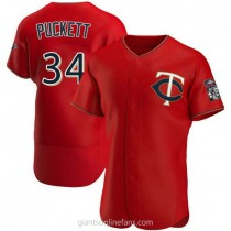 Mens Kirby Puckett Minnesota Twins #34 Authentic Red Alternate A592 Jersey
