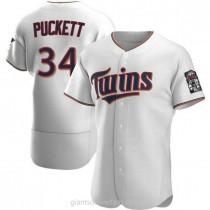 Mens Kirby Puckett Minnesota Twins #34 Authentic White Home A592 Jersey