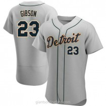 Mens Kirk Gibson Detroit Tigers #23 Authentic Gray Road A592 Jersey