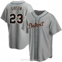 Mens Kirk Gibson Detroit Tigers #23 Replica Gray Road A592 Jersey