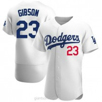 Mens Kirk Gibson Los Angeles Dodgers #23 Authentic White Home Official A592 Jerseys