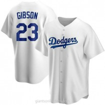 Mens Kirk Gibson Los Angeles Dodgers #23 Replica White Home A592 Jerseys