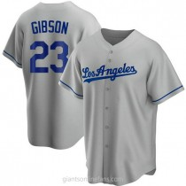 Mens Kirk Gibson Los Angeles Dodgers Replica Gray Road A592 Jersey