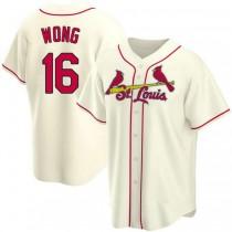 Mens Kolten Wong St Louis Cardinals #16 Cream Alternate A592 Jersey Replica