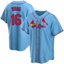 Mens Kolten Wong St Louis Cardinals #16 Light Blue Alternate A592 Jersey Replica