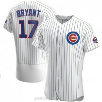 Mens Kris Bryant Chicago Cubs #17 Authentic White Home A592 Jersey