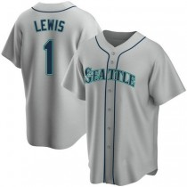 Mens Kyle Lewis Seattle Mariners #1 Replica Gray Road A592 Jersey